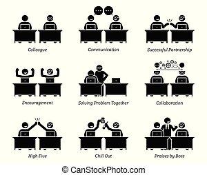 collega, partners, zakelijk, werkende , kantoor., samen, werkplaats, efficiënt