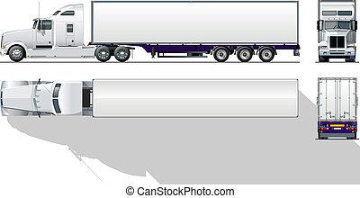 commercieel, hi-detailed, semi-vrachtwagen