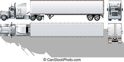 commercieel, semi-vrachtwagen