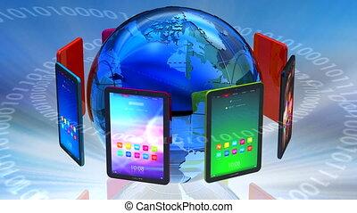 communicatie, globaal, computer