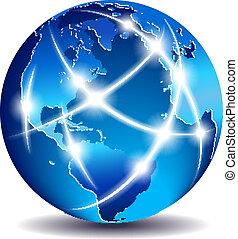 communicatie, globaal, wereld, handel