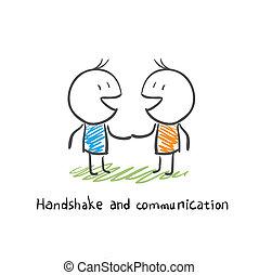 communicatie, handdruk