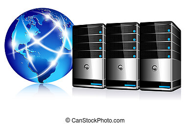 communicatie, servers, internet