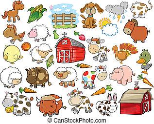 communie, boerderij, vector, ontwerp, dier