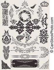 communie, calligraphic, versiering, vector, ontwerp, pagina, set: