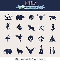 communie, iconen, van een stam, verzameling, boheems, voorwerpen