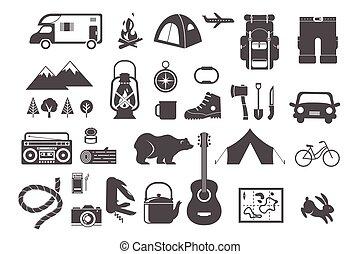 communie, kamperen, iconen, wandelende, -, set
