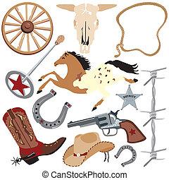 communie, kunst, klem, cowboy