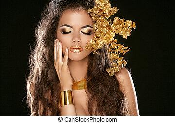 communie, meisje, mode, makeup., beauty, black , style., decoratief, mode, vrijstaand, jewelry., hairstyle., gouden, achtergrond.