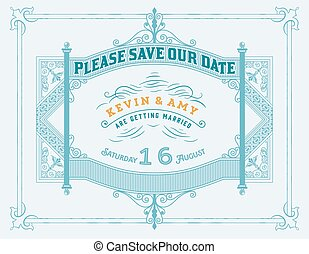 communie, ouderwetse , trouwfeest, metaal, nagemaakt, uitnodigingskaart