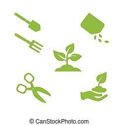 communie, tuin, vrijstaand, voorwerpen, ontwerp, witte