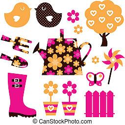 communie, tuin, &, vrijstaand, voorwerpen, ontwerp, witte