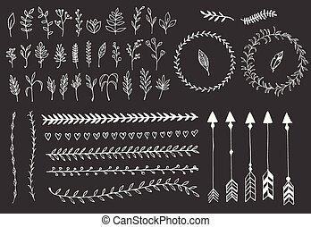 communie, veertjes, dividers, hand, pijl, ouderwetse , floral, getrokken