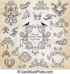 communie, versiering, frame, verzameling, calligraphic, vector, ontwerp, ouderwetse , bloemen, pagina, set: