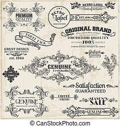 communie, versiering, frame, verzameling, calligraphic, vector, ontwerp, ouderwetse , pagina, set: