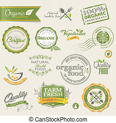 communie, voedingsmiddelen, organisch, etiketten