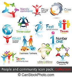 communie, zakenlui, icons., vector, ontwerp, gemeenschap, 3d