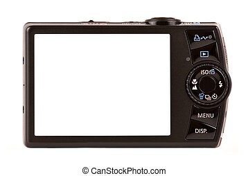 compact, vrijstaand, fototoestel, digitale , witte , achterk bezichtiging