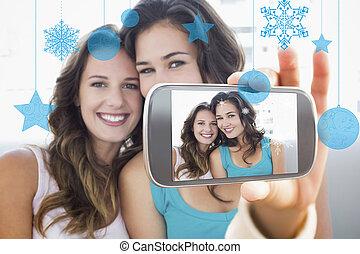 composiet, hand houdend, beeld, smartphone