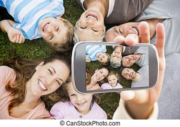 composiet, hand houdend, het tonen, beeld, smartphone