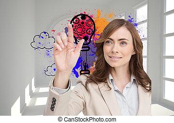 composiet, het glimlachen, businesswoman, beeld, wijzende