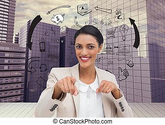 composiet, het glimlachen, fototoestel, businesswoman, beeld, wijzende