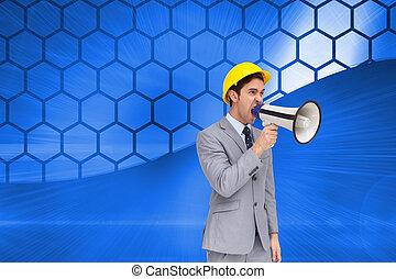 composiet, megafoon, het schreeuwen, beeld, architect, jonge