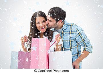 composiet, paar, aantrekkelijk, zakken, shoppen , beeld, jonge