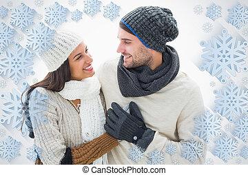 composiet, paar, warme, aantrekkelijk, beeld, kleren, jonge