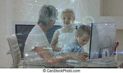 computer animatie, senior, haar, gebruik, vrouw, kleinkinderen, kaukasisch