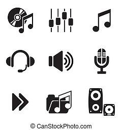 computer, audio, iconen