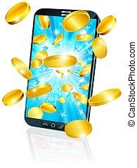 concept, beweeglijk, geld, vliegen, mobiele telefoon, munt