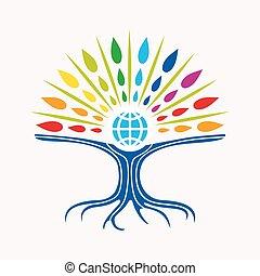concept, boompje, gemeenschap, directeur, wereld, opleiding