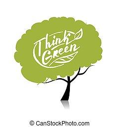 concept, boompje, jouw, ontwerp, green., denken