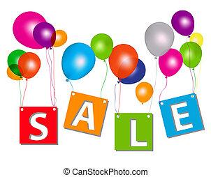 concept, brieven, illustration., discount., verkoop, vector, ballons