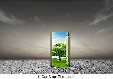 concept, deur, idee, milieu, nieuw, open, wereld