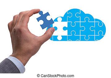 concept, gegevensverwerking, wolk, zoekplaatje
