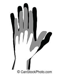 concept, gezin, handen, vader, kind, moeder