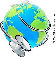 concept, globe, gezondheid, stethoscope, aarde, wereld