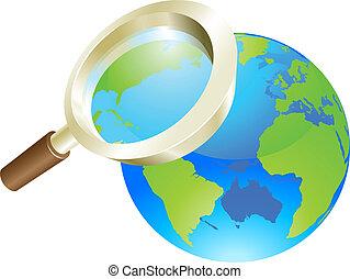 concept, globe, glas, wereld, aarde, vergroten