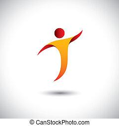 concept, graphic., sporten, aerobics, spinnen, persoon, -, ook, dancing, yoga, dans, illustratie, pictogram, vlieg, vertegenwoordigt, zoals, dit, enz., vector, acrobatiek, activiteit, turnoefening