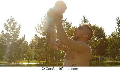 concept, hebben, gooien, -, vakantie, gezin, vader, op, reizen, vader, kind, plezier, lucht, ondergaande zon , dag, vrolijke