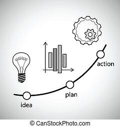 concept, illustration., idee, vector, actie, plan