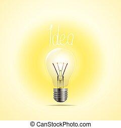 concept, illustration., lichtende voorstelling, lamp, vector