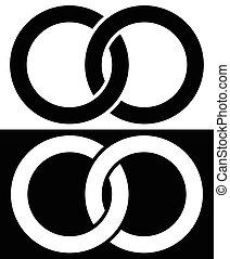 concept, interlocking, abstract, ringen, cirkels, verbinding, icon., pictogram