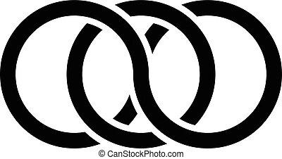 concept, interlocking, contour., ringen, cirkels, pictogram