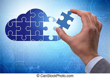 concept, jigsaw, gegevensverwerking, raadsel, wolk