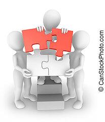 concept, kleine, 3d, teamwork, mensen