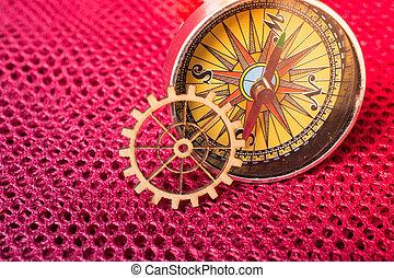 concept, kompas, techniek, rust wiel uit