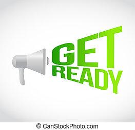 concept, krijgen, loud., gereed, boodschap, megafoon
